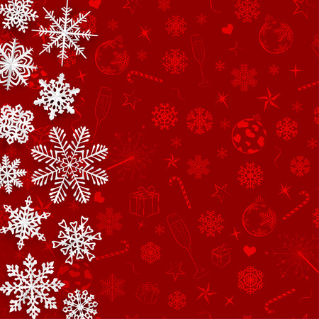 to cut out: Christmas background with snowflakes cut out of paper on red background of Christmas symbols