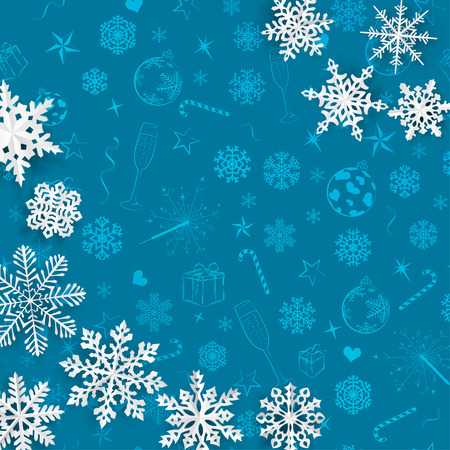 Christmas Background With Snowflakes Cut Out Of Paper On Light