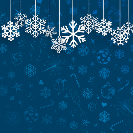 the snowflake: Christmas background with hanging snowflakes on blue background of Christmas symbols Illustration