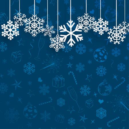 copo de nieve: Fondo de Navidad con copos de nieve que cuelga en el fondo azul de símbolos de la Navidad Vectores