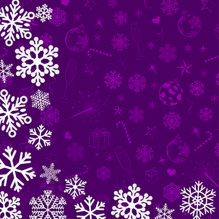 violet background: Christmas background with snowflakes cut out of paper on violet background of Christmas symbols Vettoriali