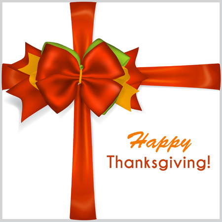 beautiful thanksgiving: Beautiful Thanksgiving red bow with crosswise ribbons