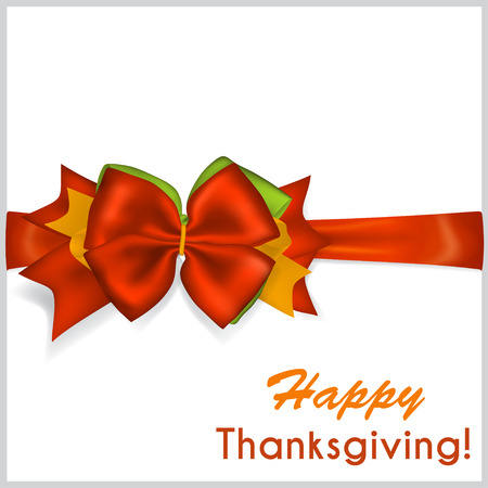 beautiful thanksgiving: Beautiful Thanksgiving red bow with horizontal ribbon