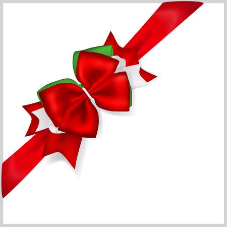 diagonally: Beautiful Christmas red bow with diagonally ribbon