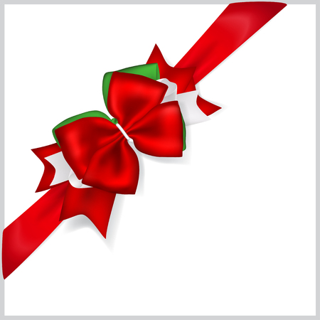 Beautiful Christmas red bow with diagonally ribbon