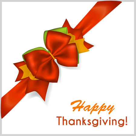 beautiful thanksgiving: Beautiful Thanksgiving red bow with diagonally ribbon Illustration