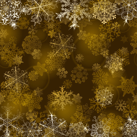 gold christmas background: Christmas background with snowflakes in gold colors Illustration