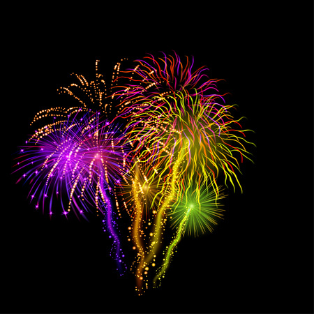 Background with bright celebratory fireworks on black