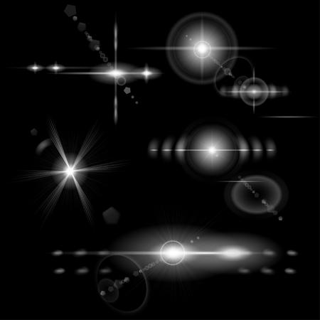 estrella: Conjunto de destellos de lentes transparentes monocrom�tica de diversas formas Vectores
