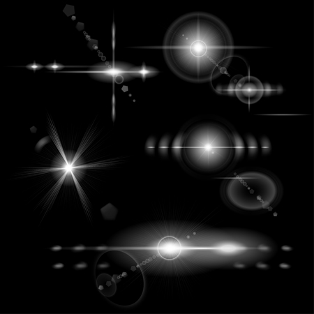 stars: Set of transparent monochrome lens flares of various shapes
