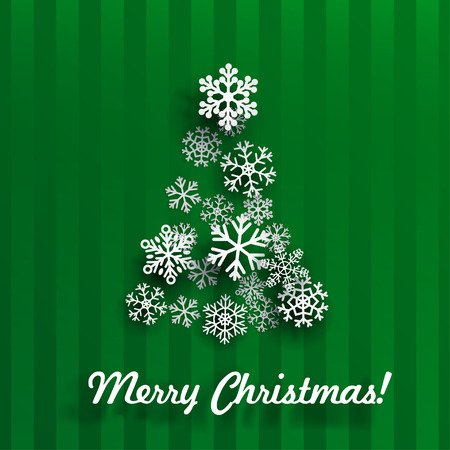december background: Christmas card with Christmas tree made of white snowflakes on green striped background