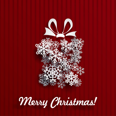 to present: Christmas card with gift box made of white snowflakes on red striped background Illustration