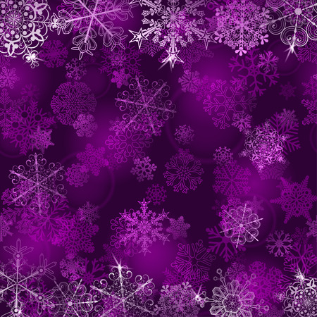 silver background: Christmas background with snowflakes in violet colors