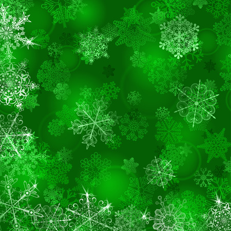 sparkle background: Christmas background with snowflakes in green colors