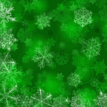 grün: Weihnachten Hintergrund mit Schneeflocken in den grünen Farben