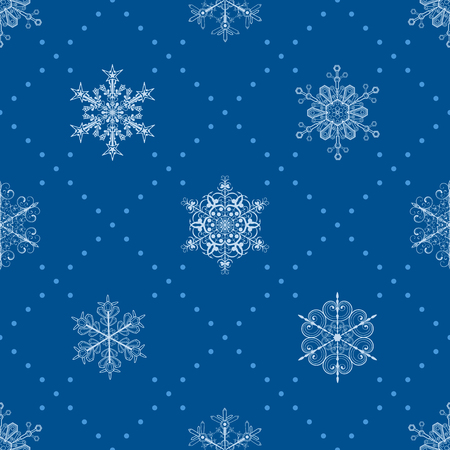 light blue: Christmas seamless pattern of snowflakes and dots, light blue on blue