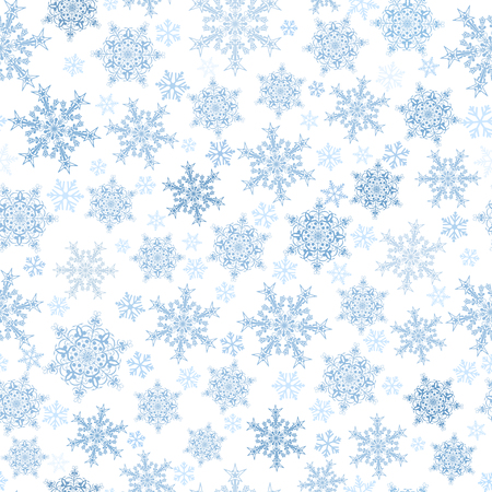 light blue: Christmas seamless pattern of big and small snowflakes, light blue on white Illustration