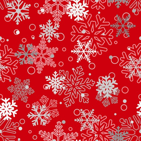 red snowflake background: Christmas seamless pattern of big and small snowflakes, white and gray on red