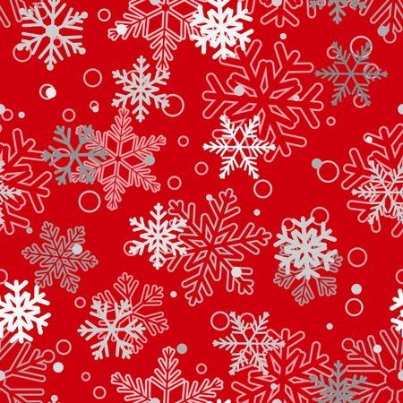 schneeflocke: Weihnachtsnahtloses Muster der gro�en und kleinen Schneeflocken, Wei� und Grau auf Rot