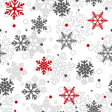 big and small: Christmas seamless pattern of big and small snowflakes, red and gray on white