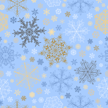 light blue: Christmas seamless pattern of big and small snowflakes, multicolored on light blue