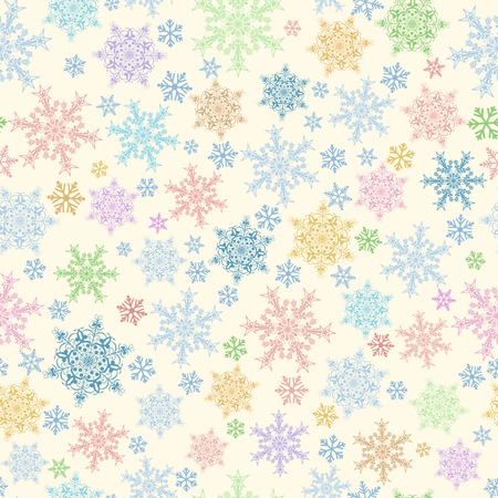 big and small: Christmas seamless pattern of big and small snowflakes, multicolored on beige