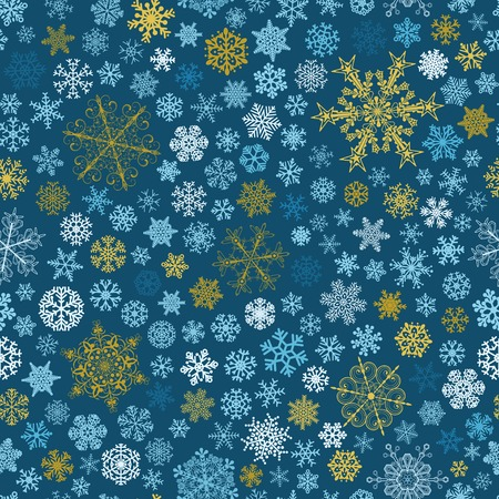 big and small: Christmas seamless pattern of big and small snowflakes, multicolored on blue