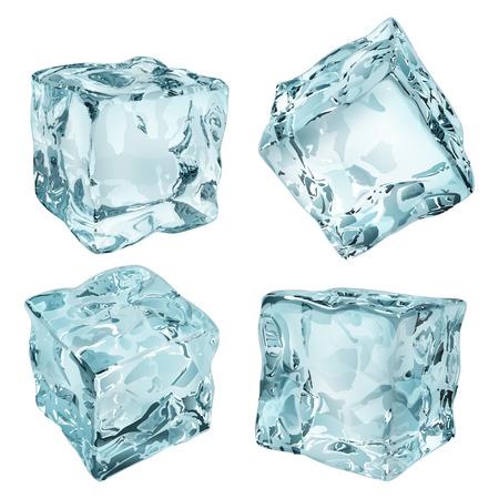 refrigerate: Conjunto de cuatro cubitos de hielo opacas en colores azul claro