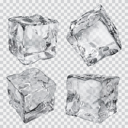 cube: Set of four transparent ice cubes in gray colors Illustration