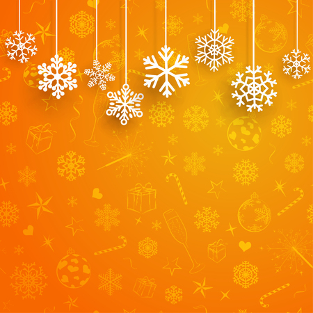 orange color: Christmas background with several hanging snowflakes on orange background of Christmas symbols