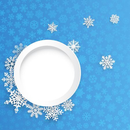 snowflake: Christmas background with round frame and paper snowflakes on blue background of small snowflakes Illustration
