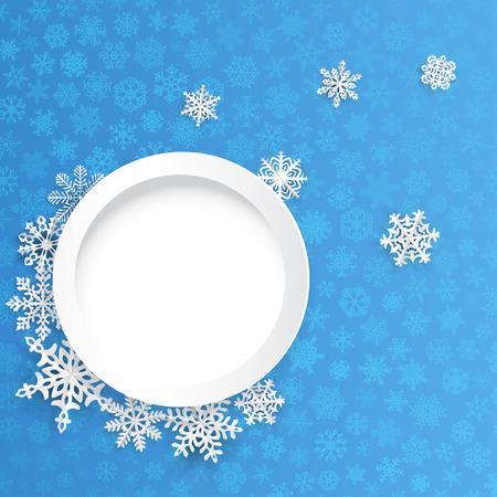 copo de nieve: Fondo de la Navidad con el marco y los copos de nieve de papel redondas sobre fondo azul de pequeños copos de nieve Vectores