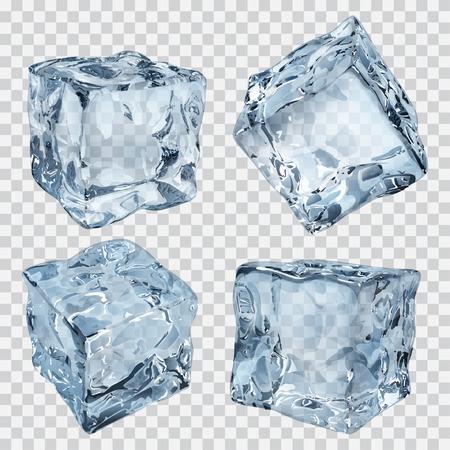 Ensemble de quatre cubes de glace transparents dans des couleurs bleu clair Banque d'images - 46314301