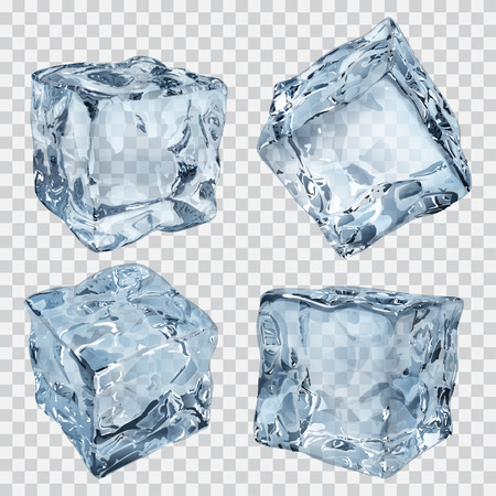 ice crystal: Set of four transparent ice cubes in light blue colors