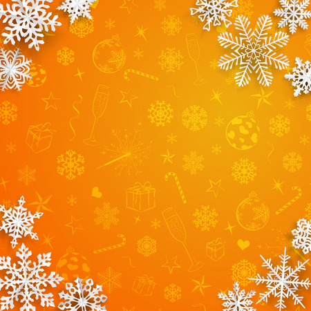 snowflake background: Christmas background with snowflakes cut out of paper on orange background of Christmas symbols