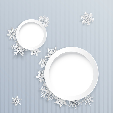 gray strip backdrop: Christmas background with two round frames and paper snowflakes on gray striped background