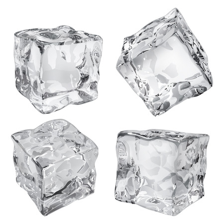 Set of four opaque ice cubes in gray colors