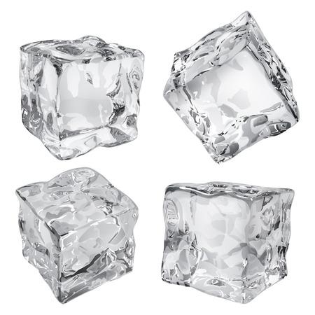 cubetti di ghiaccio: Un insieme di quattro cubetti di ghiaccio opaco nei colori grigi Vettoriali
