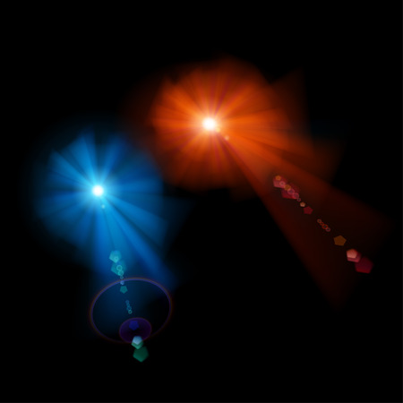 stelle blu: Red and blue stars with lens flares on black