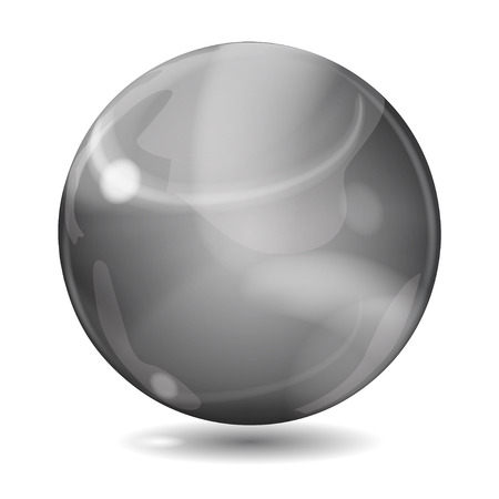opaque: Big black opaque glass sphere with glares and shadow on white background Illustration