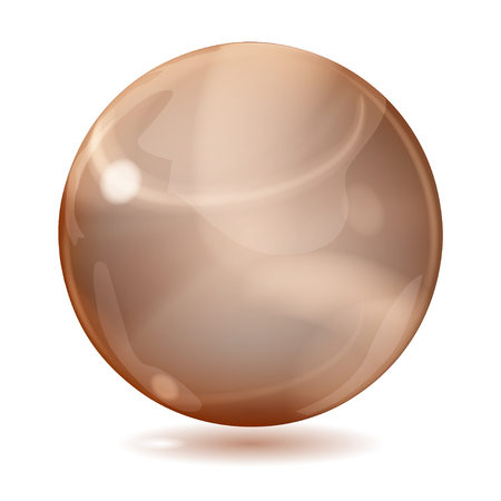 opaque: Big brown opaque glass sphere with glares and shadow on white background Illustration
