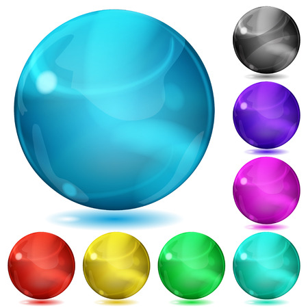 opaque: Set of opaque spheres of various colors with glares and shadows