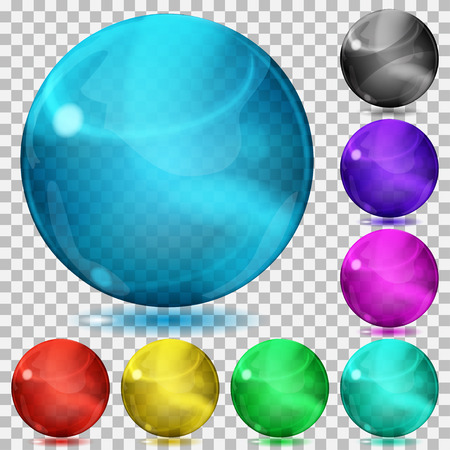 3d ball: Set of transparent glass spheres of various colors with glares and shadows