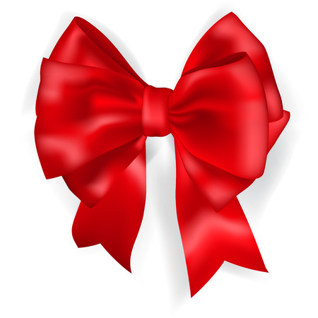 red bow: Beautiful big bow made of red ribbon with shadow Illustration