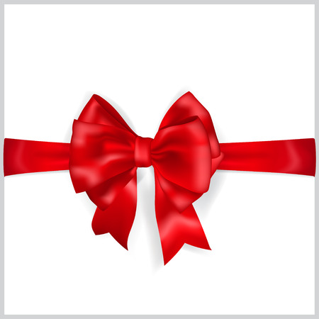 horizontal: Beautiful red bow with horizontal ribbon with shadow