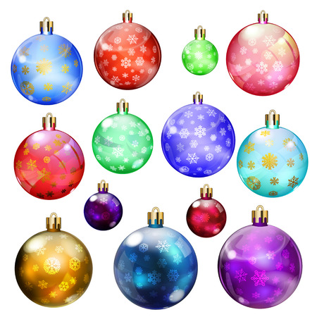Set of opaque Christmas balls with snowflakes in various colors and sizes
