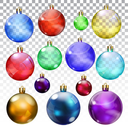 opaque: Set of transparent and opaque Christmas balls in various colors and sizes