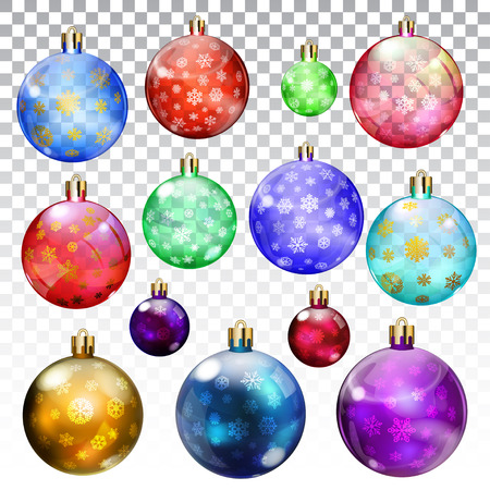 opaque: Set of transparent and opaque Christmas balls with snowflakes in various colors and sizes