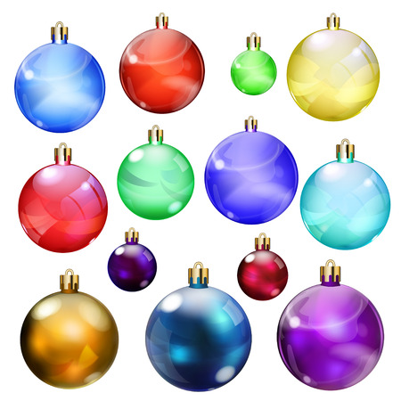 opaque: Set of opaque Christmas balls in various colors and sizes Illustration