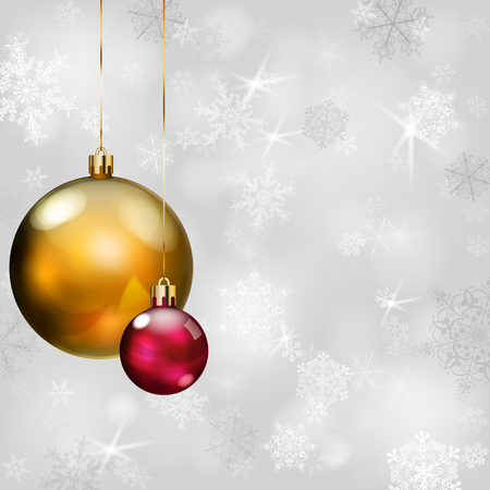 christmas balls: Christmas background with snowflakes in gray colors and Christmas balls